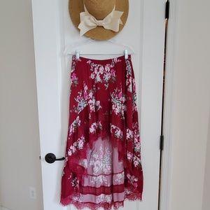 Express floral printed hi-low skirt